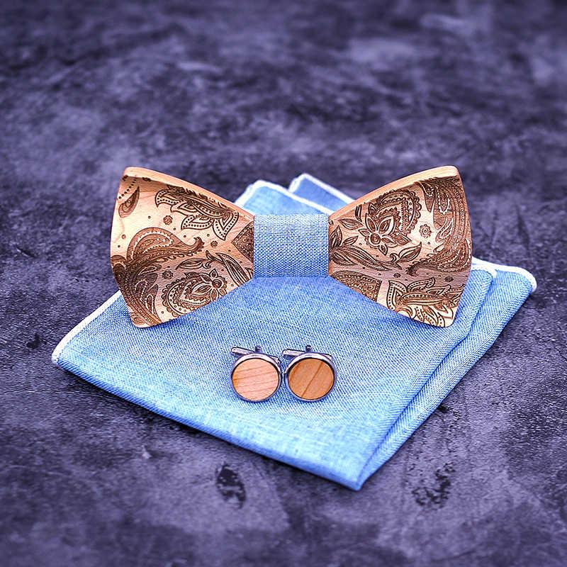 T262 3D Paisley Cravatte per Gli Uomini di Legno di Legno tie Legno Gentleman Papillon Handmade Della Farfalla di Cerimonia Nuziale Del Partito Del Regalo per uomini