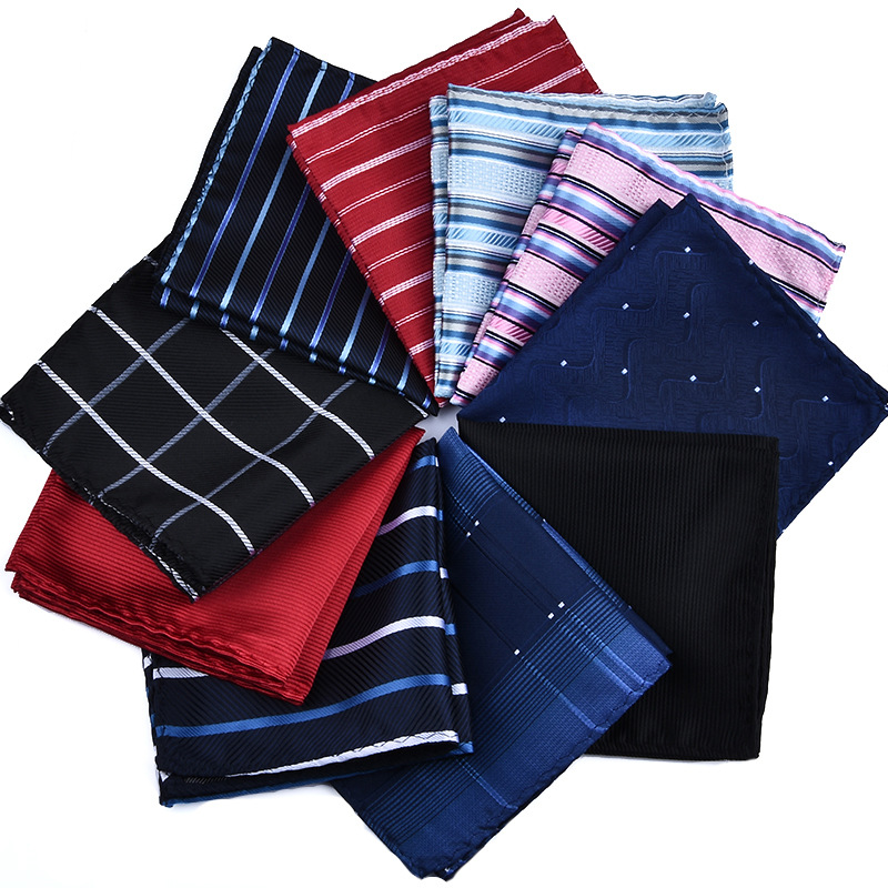 Vangise Polyester Hanky Gold & Black Paisley Men Fashion Plaid Pocket Square Handkerchiefs For Men Suit Tie Handkerchiefs