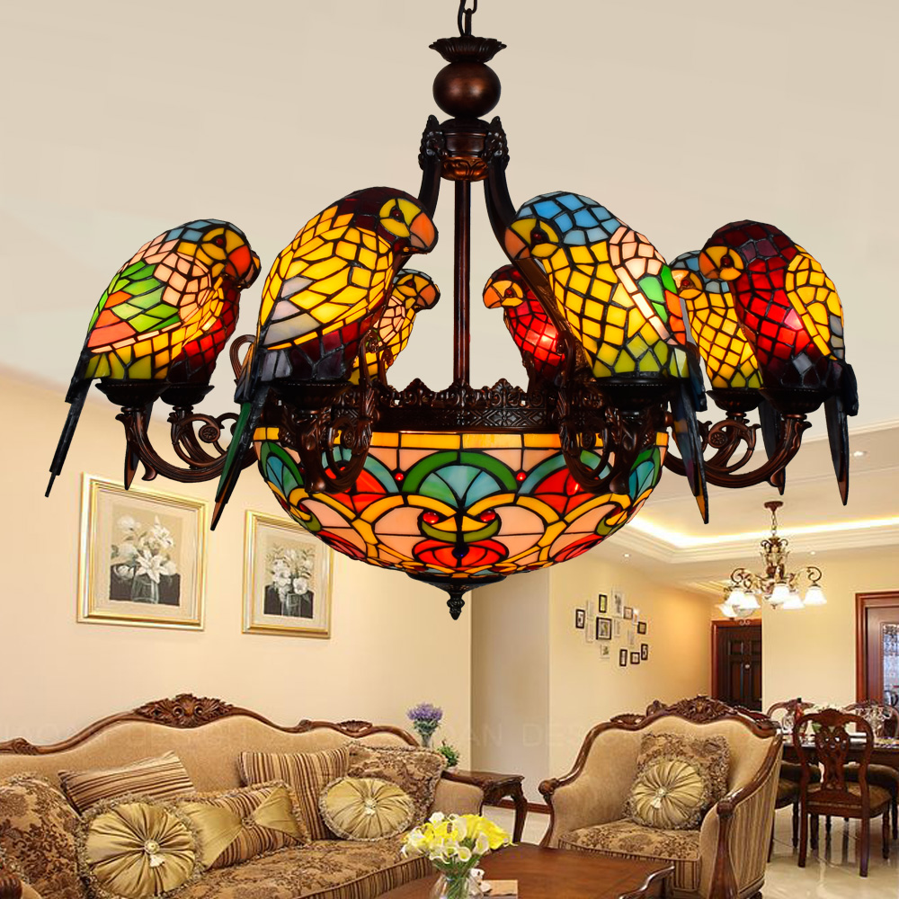 Image 2 - American Pastoral Tiffany Style Retro Luxury Parrot Bird Pendant Light Stained Glass Bar Living Room Parlor Hanging Lighting-in Pendant Lights from Lights & Lighting