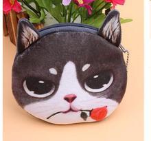 10pcs/lot! 3D Plush Women Cute Cat Printing Coin Purses Girls Animals Cat Face Coin Purse Kids Wallet Bag Zipper Pouch  3d fatty cat print coin purse