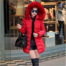Women Jacket Winter Woman Down Parkas Jackets Coat Plus Size Fashion Parka with Fur Hooded Cotton Thick