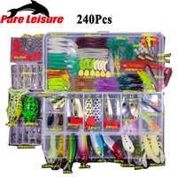 Pureleisure iscas de pesca conjunto 15/24/94/240 pçs minnow pilers popper ganchos kit isca de peixe na caixa isca artificial engrenagem de pesca
