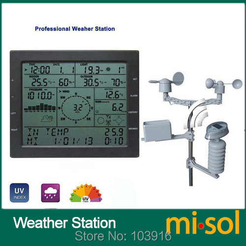 цена на MISOL / professional weather station / wind speed wind direction rain meter pressure temperature humidity UV / with solar charge