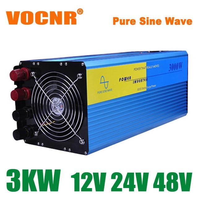 3000W Off Grid Tie Inverter DC12V/24V/48V Pure Sine Wave Inverter for Wind Turbine/Solar System, 6000W Peak Power