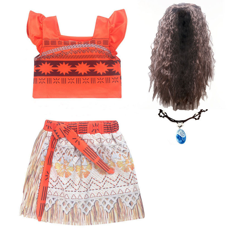 Kids Girl Princess Party Dress Moana Adventure Elsa Clothing Girls Dress Set with wig and Necklace baby Vaiana Cosplay Clothes trolls wig dress set new year costumes for girls halloween carnival dresses moana clothes children vaiana party dress vestidos