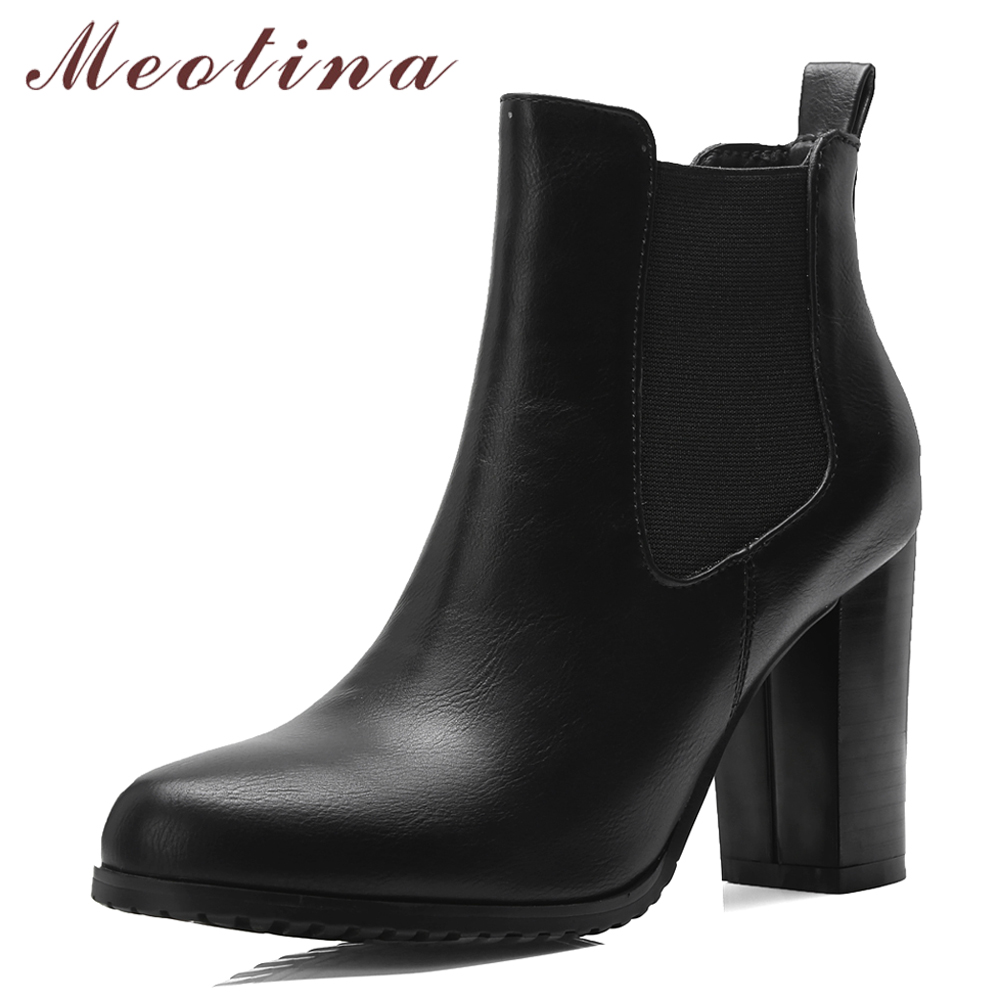 Meotina Winter Chelsea Boots High Heel Boots Slip On Elastic Ankle Boots Women Shoes 2018 Autumn Female Footwear Black Brown female pu leather thick high heel chelsea boots fashion slip on round toe women warm winter ankle boots black brown gray