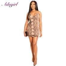 Sexy Summer Snake Print Spaghetti Strap Bodycon Mini Dress Women Casual Off Shoulder V Neck Evening Party Dresses Club Vestidos цена