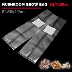 50/100Pcs Mushroom Grow Bags Fill with Spawn Media Grow High Temp Pre Sealable