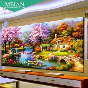 Image 1 - 2020 new design DIY garden house cross stitch kits 100% Accurate printed Embroidery Cross  landscape Needlework  Wall Decor
