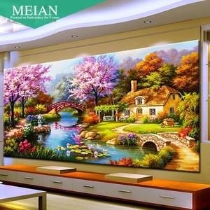 Image 1 - 2020 nouveau design bricolage jardin maison point de croix kits 100% précis imprimé broderie croix paysage couture mur décor