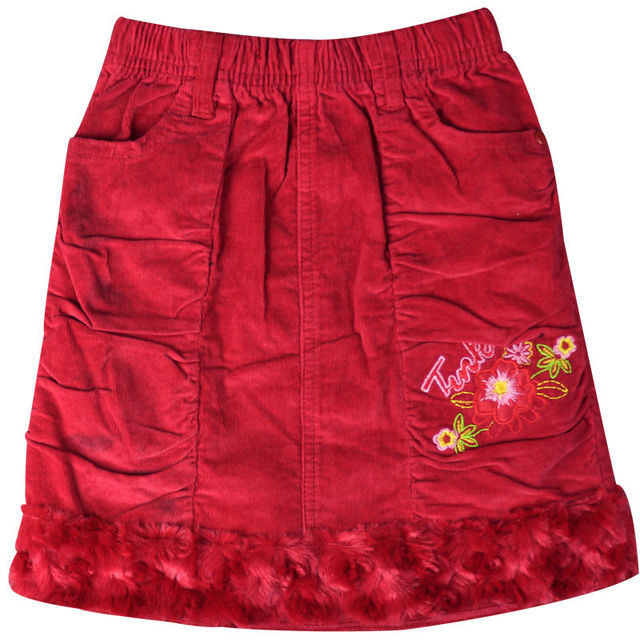 Girl's Red embroidery mini Corduroy Floral/Letter Pattern skirts with velvet hemline pockets elastic waistband  GSK-0006