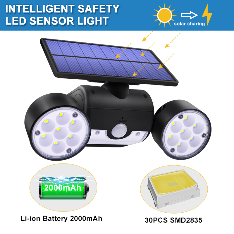 Dual Headed and Waterproof Solar Outdoor Light with 30 Adjustable Angled LED Lights for Garden and Street 1