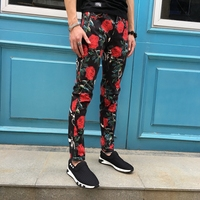 2017 Flowers Print Jeans Mens Club Outfits Fancy Stage Costume Denim Jeans Homme Mens Dress Pants