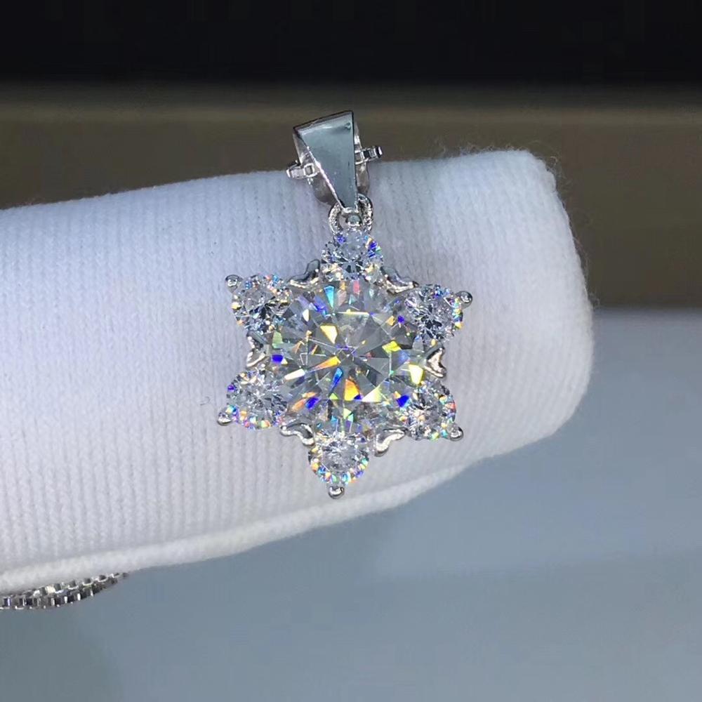 Round Silver Moissanite Pendants 1ct 6.5mm D VVS Luxury Moissanite Weding Pendants for WomenRound Silver Moissanite Pendants 1ct 6.5mm D VVS Luxury Moissanite Weding Pendants for Women