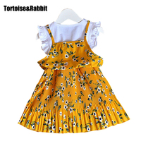 Hot Summer Girls Pleated Dress Kids Girl Flower Printed Dresses Children S Party Dress For Dance