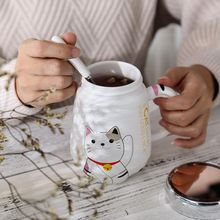 500ml Cartoon Cat Heat-resistant Cup Color With Lid Kitten Milk Coffee Ceramic Mug Children Cups Office Summer Gifts