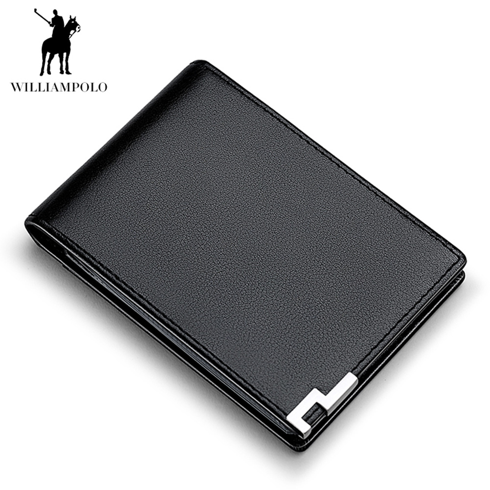WILLIAMPOLO Fashion Men Wallet Genuine Leather Clutch Bag Credit Card Holder ID Photo Driving License Slim Bifold Small Wallets 2016 new fashion luxurious brand small mini ultra thin slim wallets men s leather bifold clip wallet id credit card holder