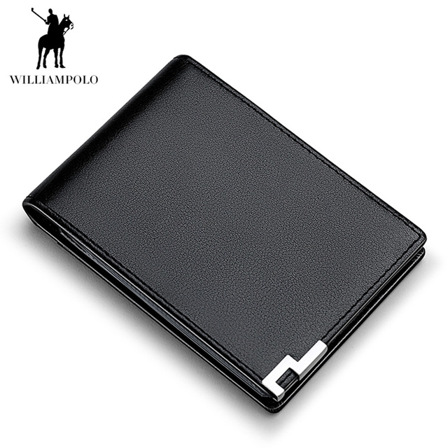 a79bd0e765 WILLIAMPOLO Fashion Men Wallet Genuine Leather Clutch Bag Credit Card  Holder ID Photo Driving License Slim