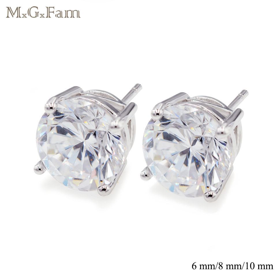 494e9207430 MxGxFam Shiny Round Clear CZ Stud Earrings For Women 6mm   8mm   10 mm  Classic