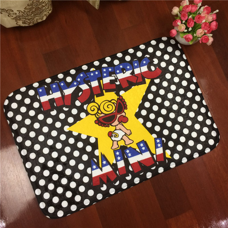 Hot Flannel Hysteric Mini Kids Room Mat Antiskid Carpet Living Room 40*60cm Bathroom Toilet Floor Mats Doorway Rug Free Shipping
