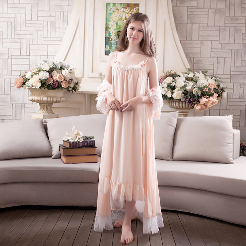 2017 Two Pieces Set Women Sweat Pajamas Sleepwear Ladies Cotton Vintage Lace Breathable Robes Cute Loose Nightgowns Dress