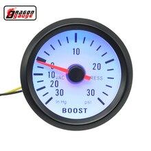 Dragon gauge 52mm Black Shell Blue Blacklight Auto Car Turbo pressure Turbin Vacuum Boost Gauge Meter Press Gauge
