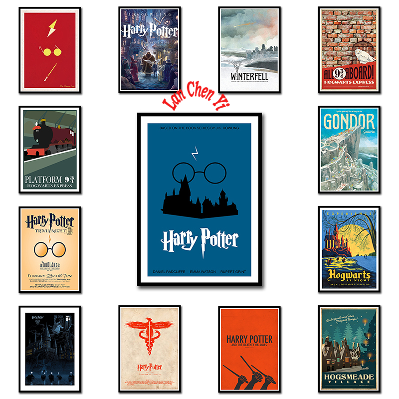 Harry Potter Illustrations style Coated paper poster Office Gift Room Dining Home Decor wall sticker Design