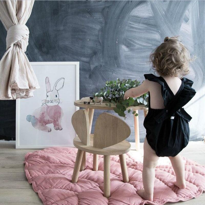 Baby Girls Pink Leaves Cotton Play Mat Sweet Toy Round Rug Pad Newborn Kid Carpet Blanket Cartoon Rawling Climb Mat Room Cushion