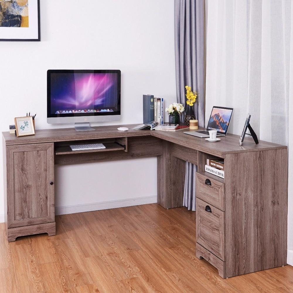 Giantex L Shaped Corner Computer Desk Writing Table Study