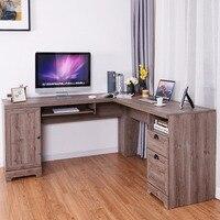 Giantex l образный угловой компьютерный стол письменный стол рабочая станция с ящиками для хранения коммерческой мебели HW60399GR +