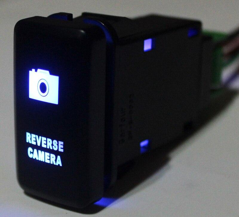 Bleu LED Push Button Switch Voiture Caméra de Recul Pour Toyota Prado Landcruiser Hilux FJ Cruiser SUR Off + Fil 12 Volts ampères