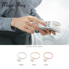 Magic Ikery 2015 Popular Wholesales  Gold Plated Imported Brand Customized  fashion simulated pearl Rings MKHG1023