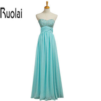 New Arrival Luxury Beading Sweetheart Blue Chiffon A Line Zipper Back Long Bridesmaid Dresses For Wedding Party