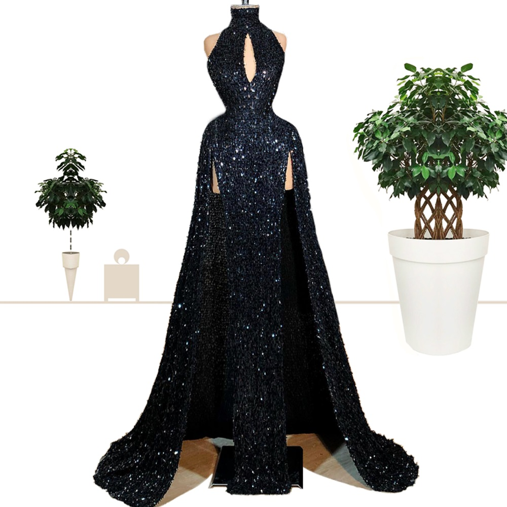 2019 New Fashion Black Sequined Celebrity Dresses Sexy Side Split Prom Evening Dresses Sparkly Red Carpet Gowns