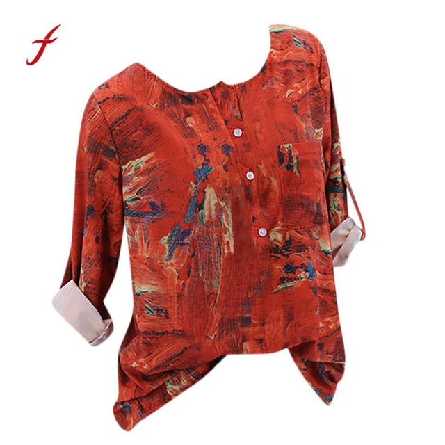 7a6d8f0e9b4 womens tops and blouses 2018 vogue Vintage cotton Floral Printed Long Sleeve  O-Neck blouse roupas Femininas dropshipping