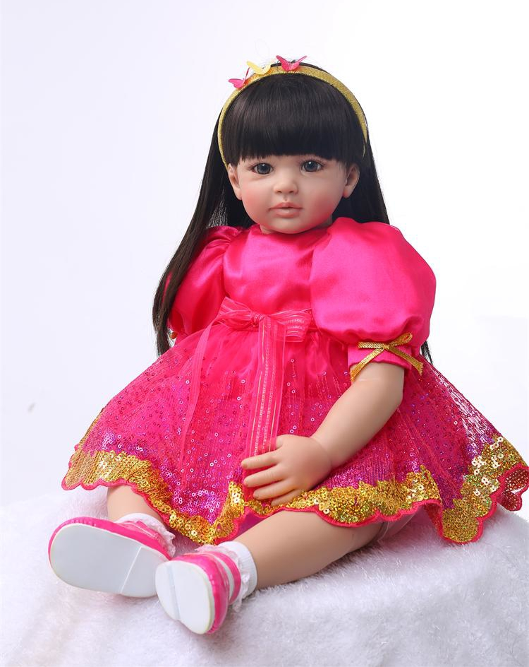 Pursue 24/60 cm Long Black Hair Handmade Vinyl Silicone Reborn Toddler Princess Girl Baby Doll Toys for Children Birthday Gifts handmade new model soft vinyl silicone reborn toddler princess girl baby alive doll toys with strap denim skirts birthday gifts