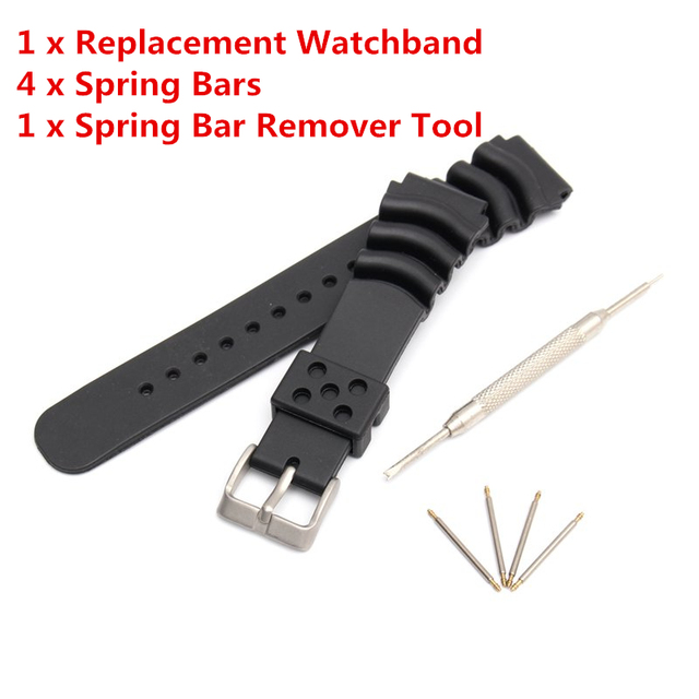 Black Soft Silicone Rubber Diver Watchband Replacement Wrist Strap Comfortable B