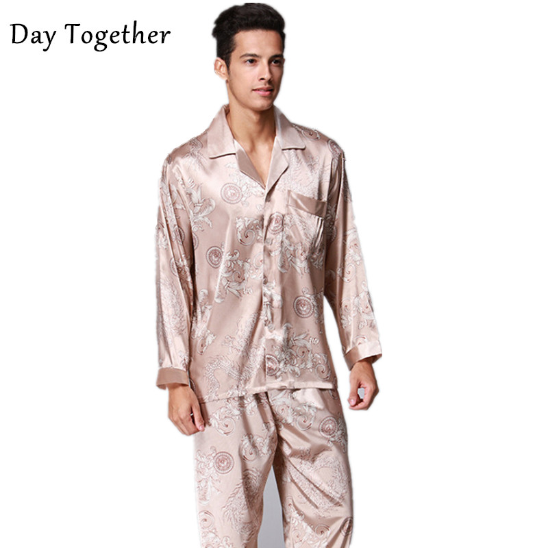 Men's Satin Silk Sleepwear Long Sleeves Faux Silk Pajamas Suit Man Loose Printed Paisley Night Pyjamas 2 piece set Male