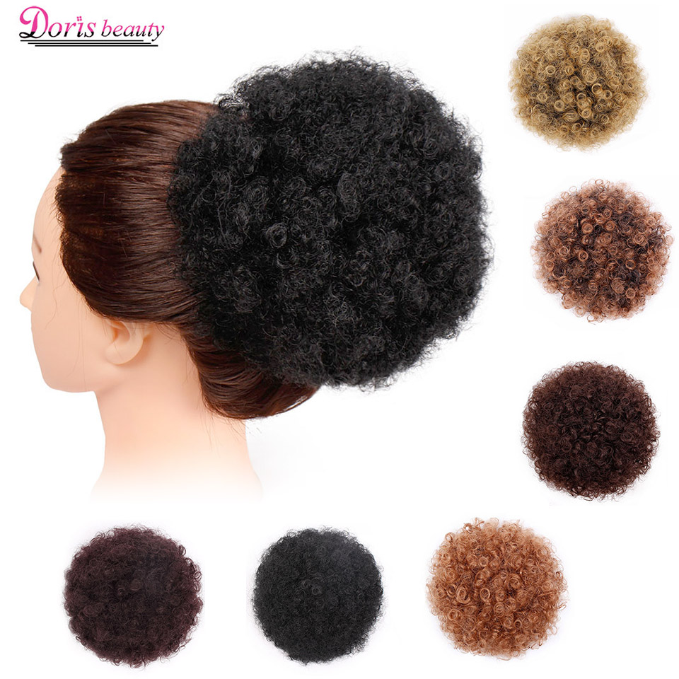 Doris beauty Synthetic Puff Afro Short Kinky Curly Chignon Hair Bun Drawstring
