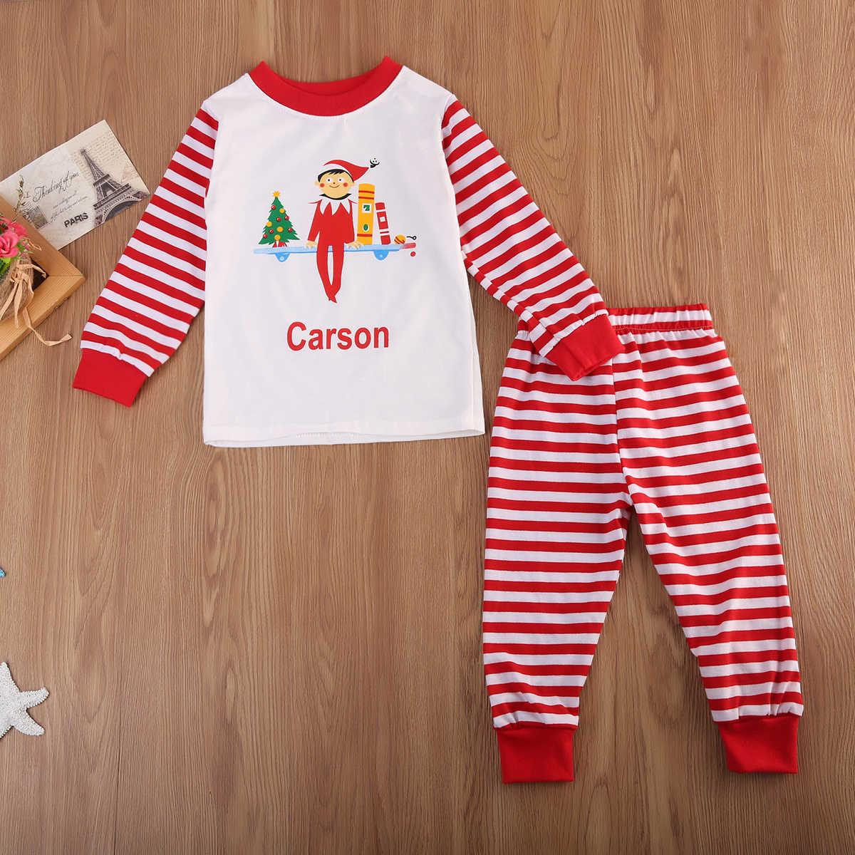 Pudcoco 2019 Lovely Kids Adult Family Matching Christmas Striped Pajamas  Sleepwear Nightwear Pyjamas eefc6b26f