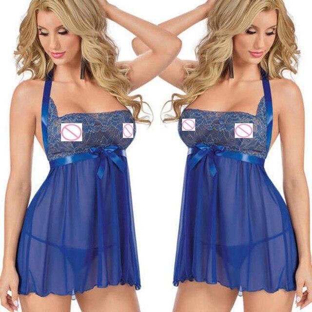 33eb083a9 Mulheres Lingerie Vestido de Renda Lingerie Babydoll Sleepwear + G-corda  Roupa de Dormir vestido