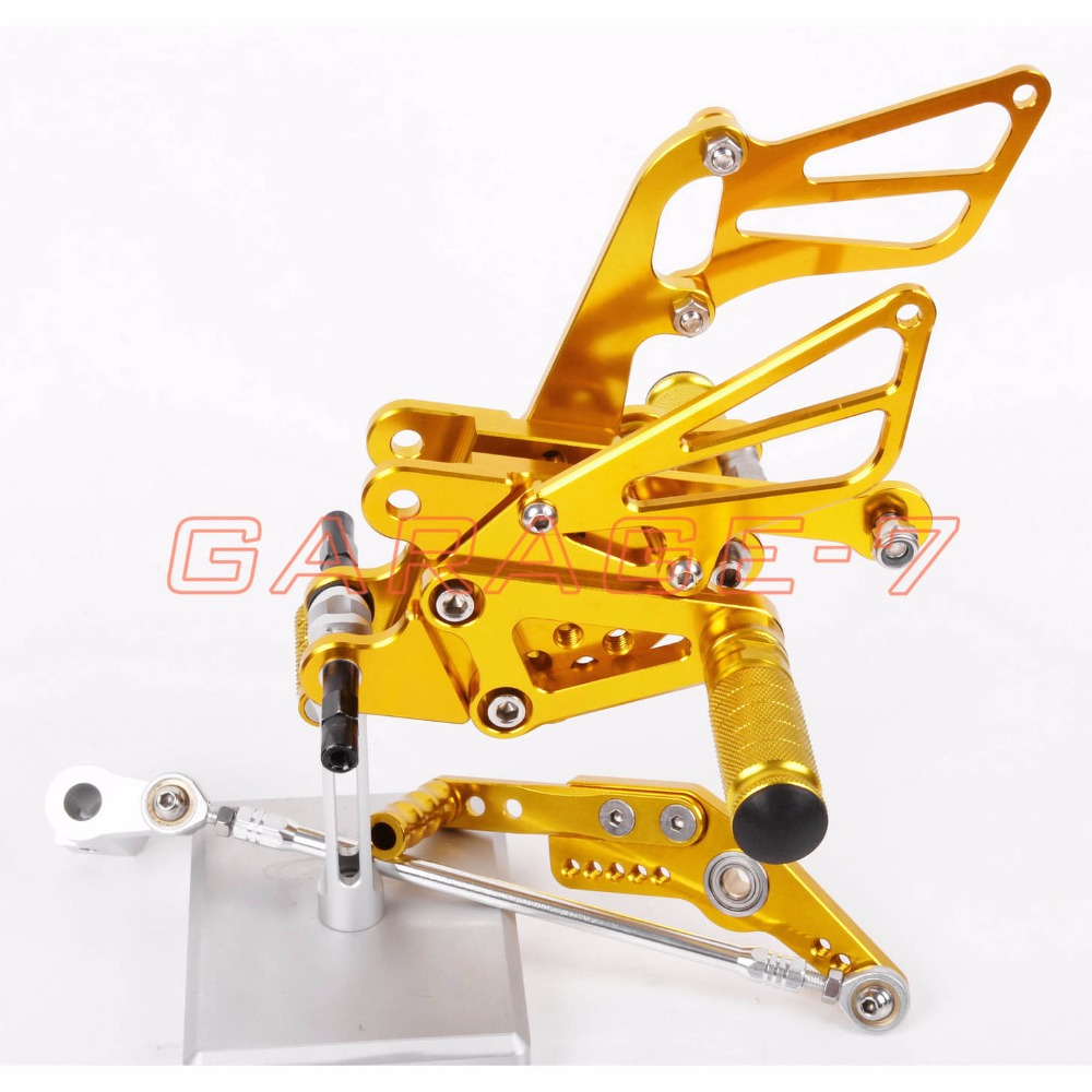 Rearsets Foot Rests Rear Set Yellow For HONDA CBR1000RR 2004-2007 2005 2006 Motorcycle Foot Pegs 6061 Aluminum Alloy A New CNC