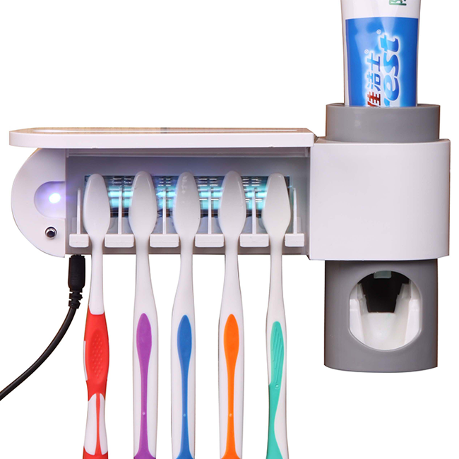 220V Uv toothbrush Cleaner Sanitizer sterilizer holder + Automatic Toothpaste Dispenser device box Oral Care Free shipping 2015 fashion and new model oral health care uv toothbrush sterilizer toothbrush and toothpast holder cleaner bathroom box