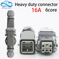 Heavy duty connector 6(5 + 1) 16A 500V HA 005 6is Horizontal cold pressure docking heat flow connector connector t   -