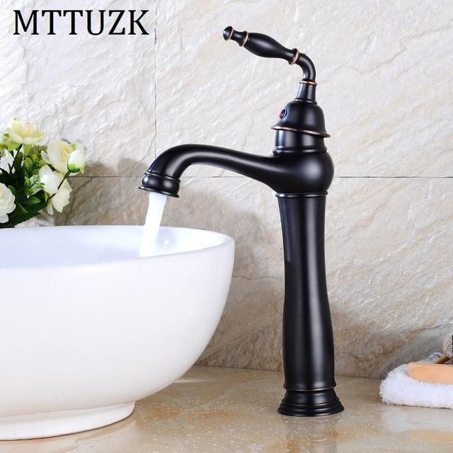 Mttuzk Free Shipping Oil Rubbed Black Basin Faucet Brass Vessel Sink
