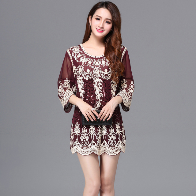 Ethnic Style Women Summer Long Tunic Blouse Top Loose O-Neck 3 4 Sleeve 6bf33021fb16