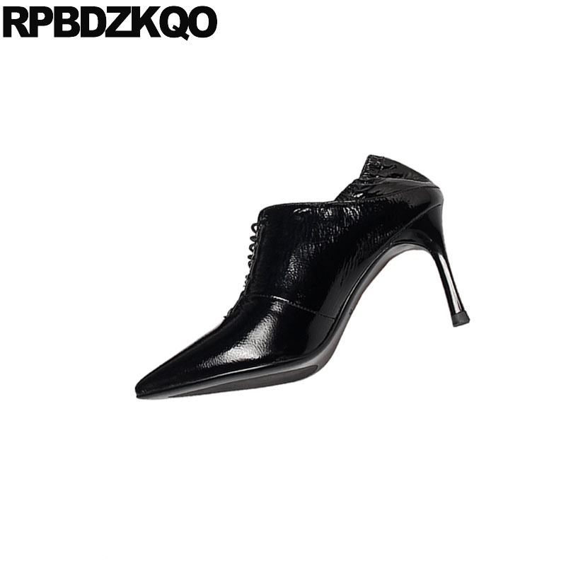 Black Genuine Leather Pointed Toe Handmade Scarpin Lace Up Fashion Shoes 2019 Luxury Women High Heels Ladies Pumps Patent 8cm - 4