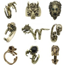 Gothic Punk Animal Ring Dog Dragon Wolf Bird Lion Head Skeleton Eagle Claw Rings For Men Women Biker Jewelry Gift Anel Masculino chic dragon head shape ring for men