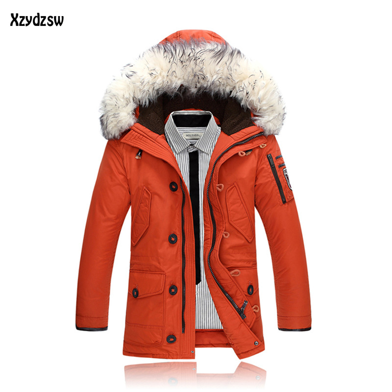 2016 Winter Jacket Men Thick Warm   Coat   Casual Fur Collar   Down     Coats   Windproof Hooded Outwear Jackets Men Parkas Brand Clothing