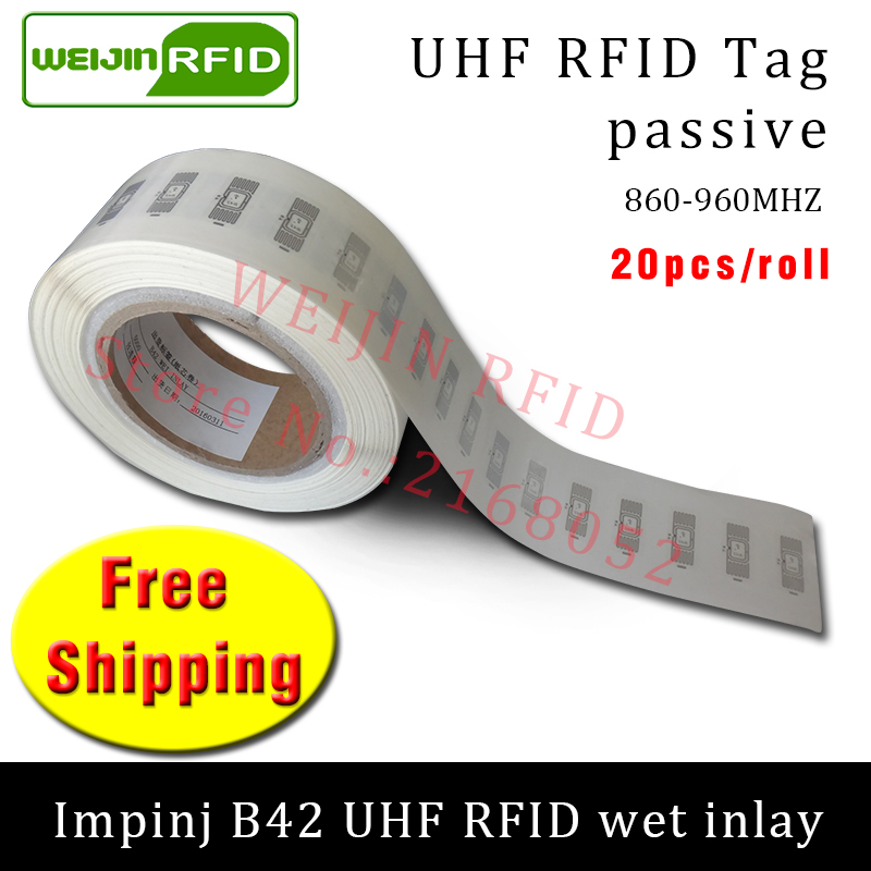 UHF RFID tag sticker Impinj B42 wet inlay 915m868 860-960mhz  EPC 6C 20pcs free shipping self-adhesive passive RFID label uhf rfid tag epc 6c sticker impinj j41 wet inlay 915mhz868mhz860 960mhz higgs3 100pcs free shipping adhesive passive rfid label